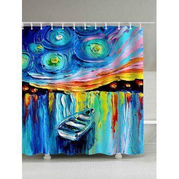 Waterproof Boat in Lake Oil Painting Shower Curtain