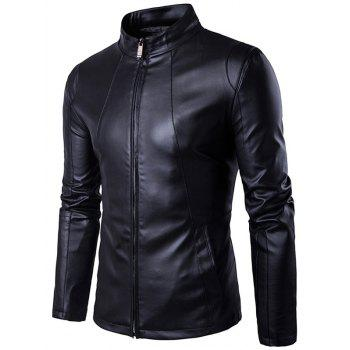 Zip Up Panel Design PU Leather Jacket