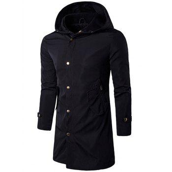 Zipper Pockets Hooded Polyester Coat
