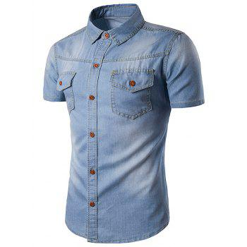 Bleach Wash Pockets Short Sleeve Denim Shirt