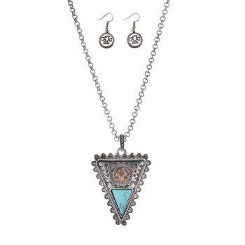 Triangle Fake Gem Eagle Totem Necklace Set