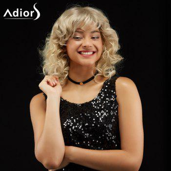 Adiors Medium Curly Hairstyle Side Bang Fluffy Synthetic Wig