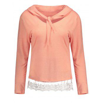 Lace Insert Hooded Long Sleeve Tee