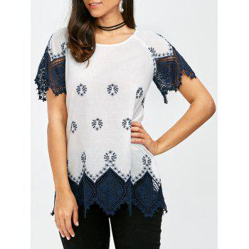 Raglan Sleeve Lace Trim Longline Blouse - BLUE AND WHITE BLUE/WHITE