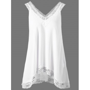 Lace Trim High Low Hem Tank Top