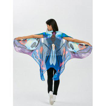 Vivid Sleeveless Butterfly Wing Cape Voile Pashmina