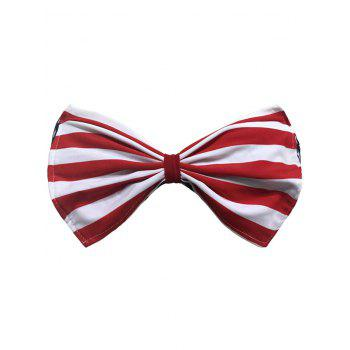 Strapless Striped Wirefree Padded Bowknot Bandeau Bikini Bra - RED RED