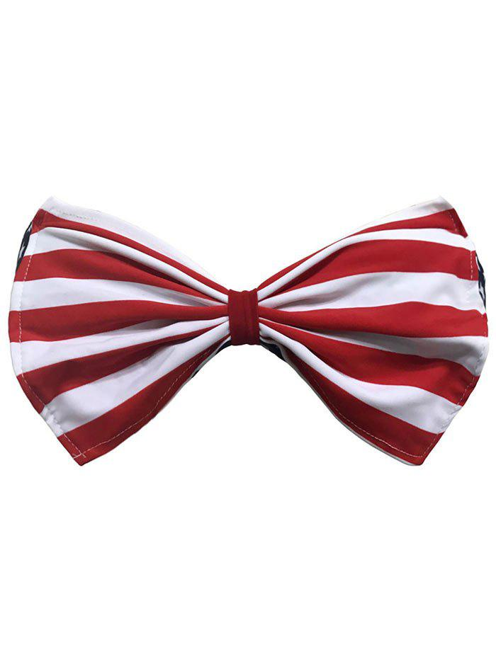 Striped bowknot Bandeau Bikini - Rouge L
