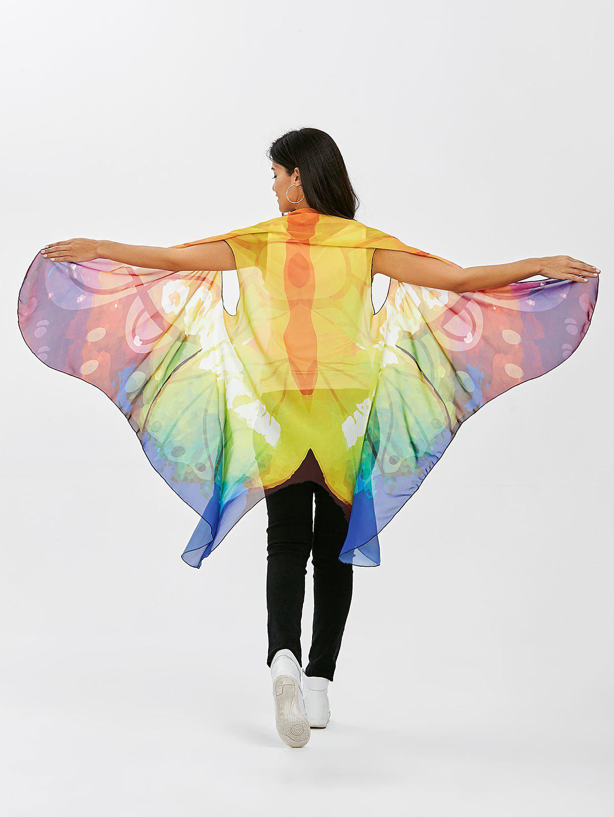 Sleeveless Butterfly Wing Cape Voile Pashmina lion pattern voile pashmina