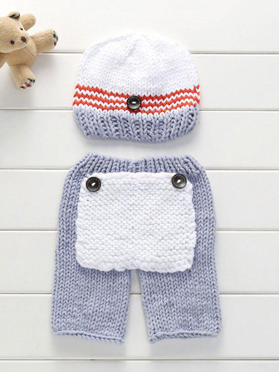 Big Pocket Photography Knitting Baby Pants and Hat - GRAY