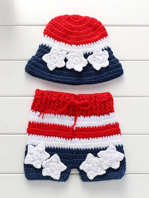 Knitting American Flag Baby Pants and Flower Embellished Hat - COLORMIX
