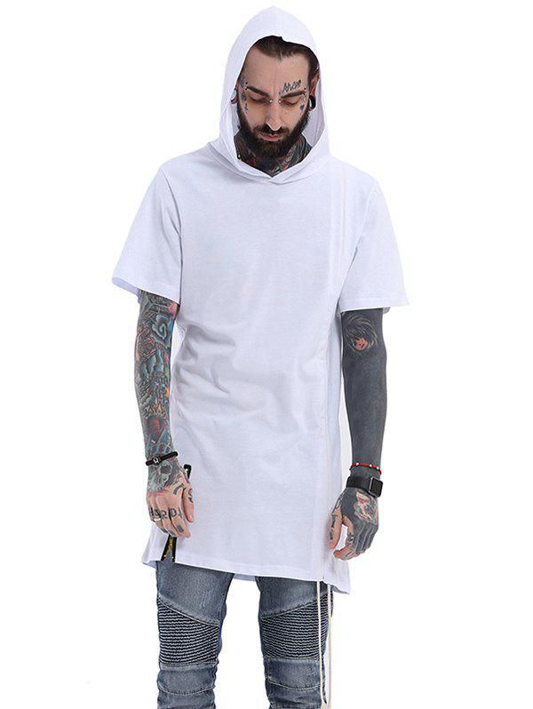 Side Drawstring Design Hooded Zipper T-Shirt - WHITE XL
