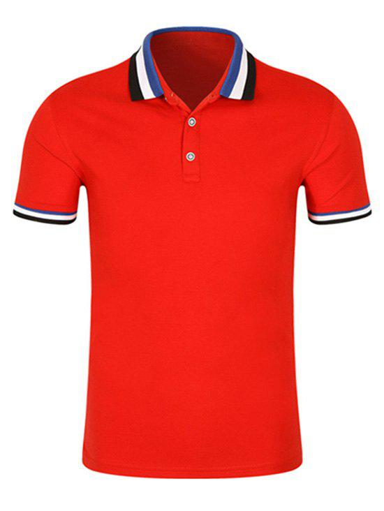 2018 striped trim short sleeve golf shirt red xl in t for Golf t shirts for sale