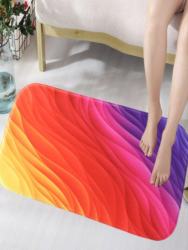 Rainbow Color Skidproof Flannel Bath Mat bathroom flannel skidproof shore scenery mat