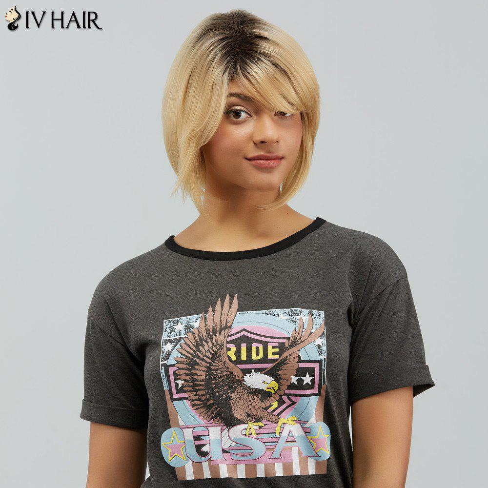 Siv Hair Short Dyeing Oblique Bang Shaggy Straight Human Hair Wig - COLORMIX