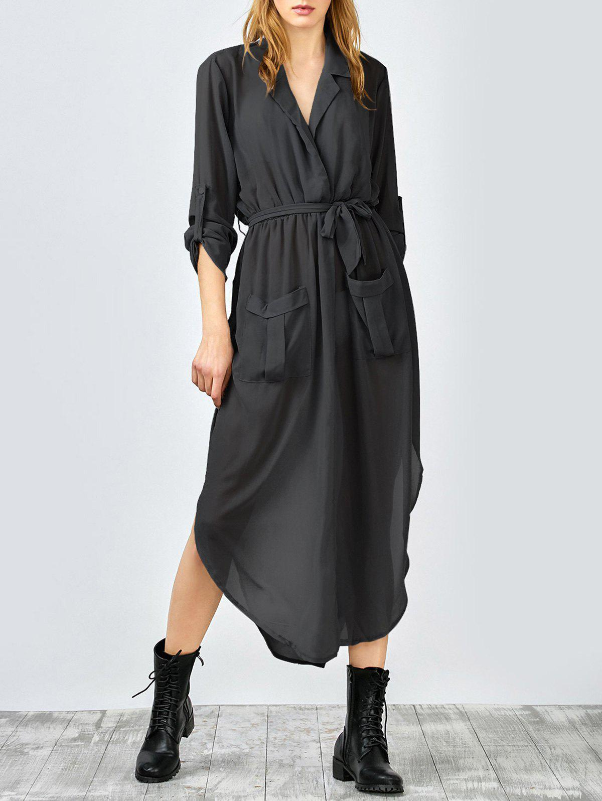 Pockets Tie Belt Crossover Maxi Dress - BLACK L