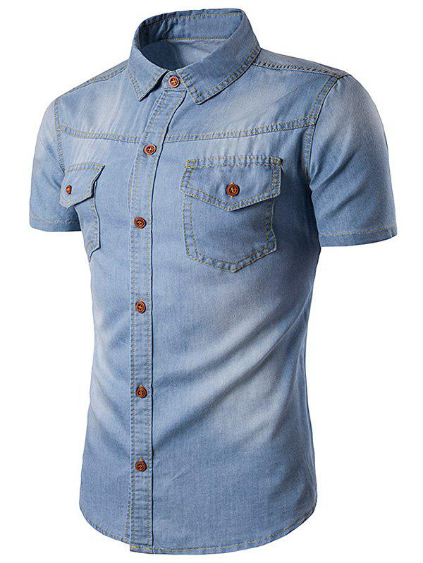 Bleach Wash Pockets Short Sleeve Denim Shirt - LIGHT BLUE XL
