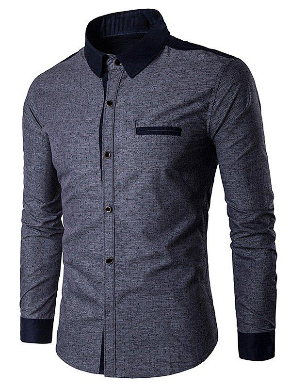 Edging Anchor Print Long Sleeve Shirt - DEEP GRAY XL