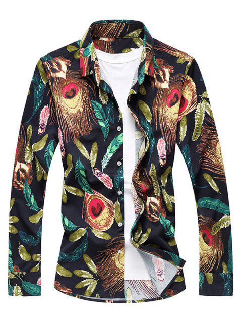 Feather Print Long Sleeve Shirt - COLORMIX 3XL