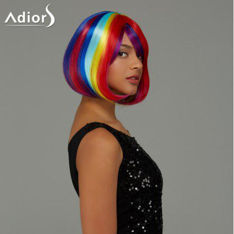 Adiors Rainbow Gradient Short Bob Party Synthetic Wig - COLORFUL