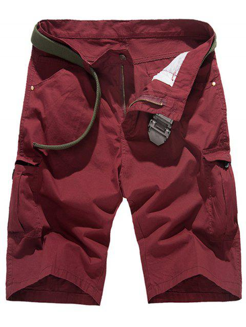 Zip Fly poches Shorts Conception Cargo - Rouge vineux 30