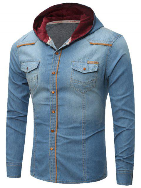 Breast Pocket Hooded Denim Shirt - LIGHT BLUE XL