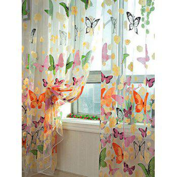 Butterfly Print Sheer Tulle Window Curtain - COLORFUL W54 INCH* L108 INCH