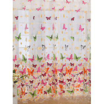 Butterfly Print Sheer Tulle Window Curtain - W54 INCH* L108 INCH W54 INCH* L108 INCH