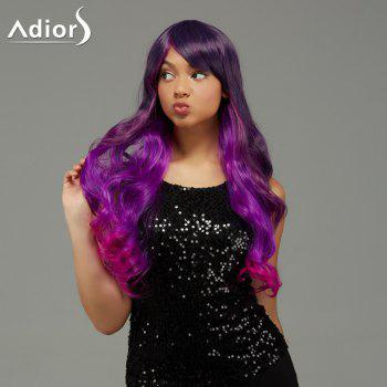 Adiors Long Wavy Ombre Inclined Bang Capless Synthetic Wig