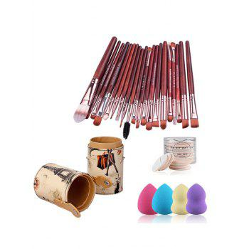 20 Pcs Makeup Brushes Set + Brush Holder + 4 Pcs Makeup Sponges + BB Cream Air Puffs - RED