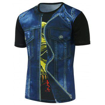 Round Neck 3D Faux Denim Jacket Printed Tee