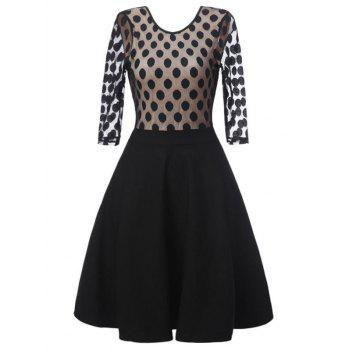 Polka Dot Mesh Panel Vintage Dress