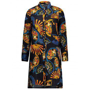 Plus Size Tribal Printed Long Button Up Shirt