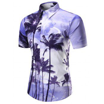 Coconut Tree Print Short Sleeve Shirt