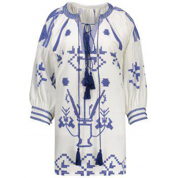 Plus Size Embroidered Tassel Lace Up Peasant Top