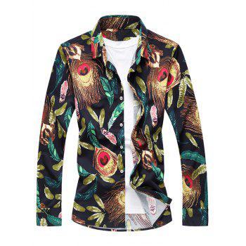 Feather Print Long Sleeve Shirt