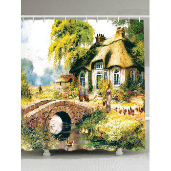 Country Scenery Oil Painting Fabric Shower Curtain