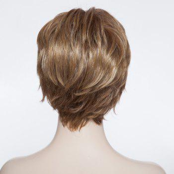 Trendy Synthetic Blonde Highlight Fluffy Short Curly Full Bang Charming Women's Capless Wig -  COLORMIX