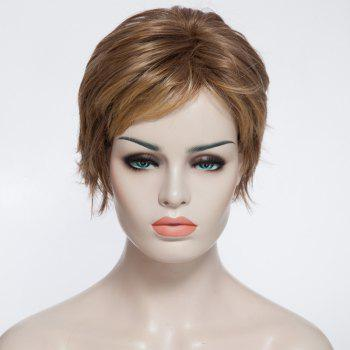 Trendy Synthetic Blonde Highlight Fluffy Short Curly Full Bang Charming Women's Capless Wig