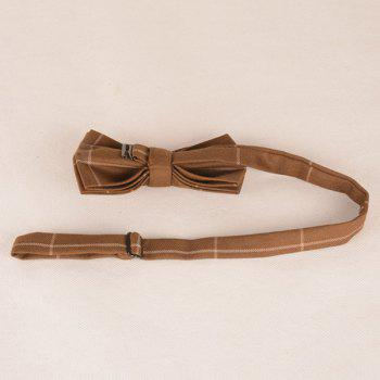 Checked Anti Wrinkle Bow Tie -  LIGHT COFFEE