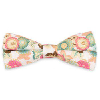 Vintage Blossom Printing Bow Tie - WHITE WHITE