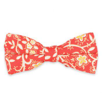 Retro Cirrus Floral Print Bow Tie - RED RED
