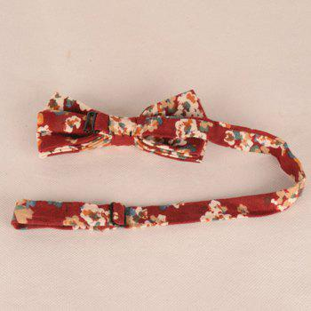 Retro Tiny Bouquet Printed Bow Tie -  RED