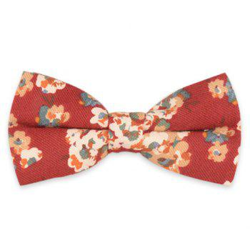 Retro Tiny Bouquet Printed Bow Tie - RED RED