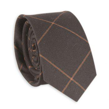 Anti Wrinkle Plaid Neck Tie - COFFEE COFFEE