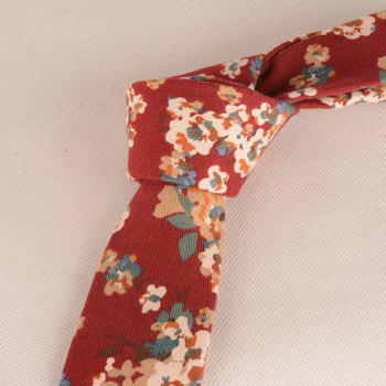 Vintage Tiny Bouquet Printing Neck Tie - RED