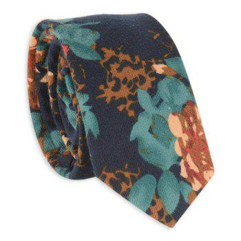 Oil Painting Flowers Neck Tie - GREEN GREEN