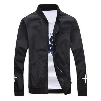 Stand Collar Cross Geometric Print Zip Up Jacket