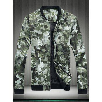Camouflage 3D Leopard Print Zip Up Jacket