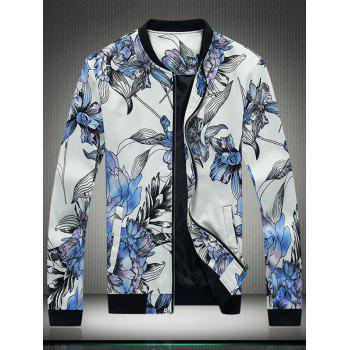 3D Flower Print Stand Collar Zip Up Jacket
